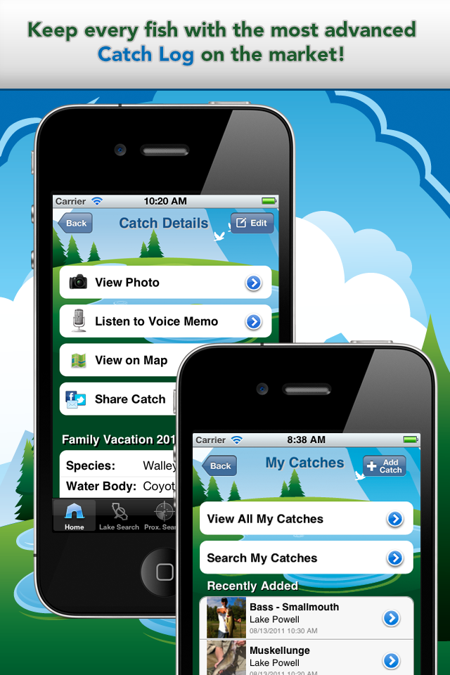 iFish California App Catch Log Screens