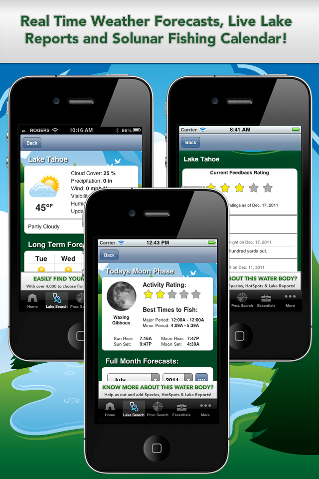 iFish California App Solunar Calendar, Weather Reports and Lake Reports